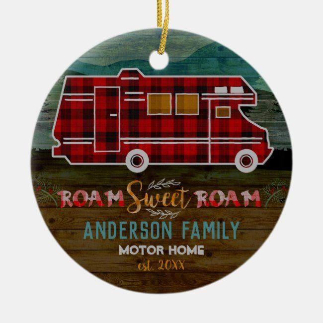 Motorhome RV Camper Travel Van Rustic Personalized Ceramic Ornament