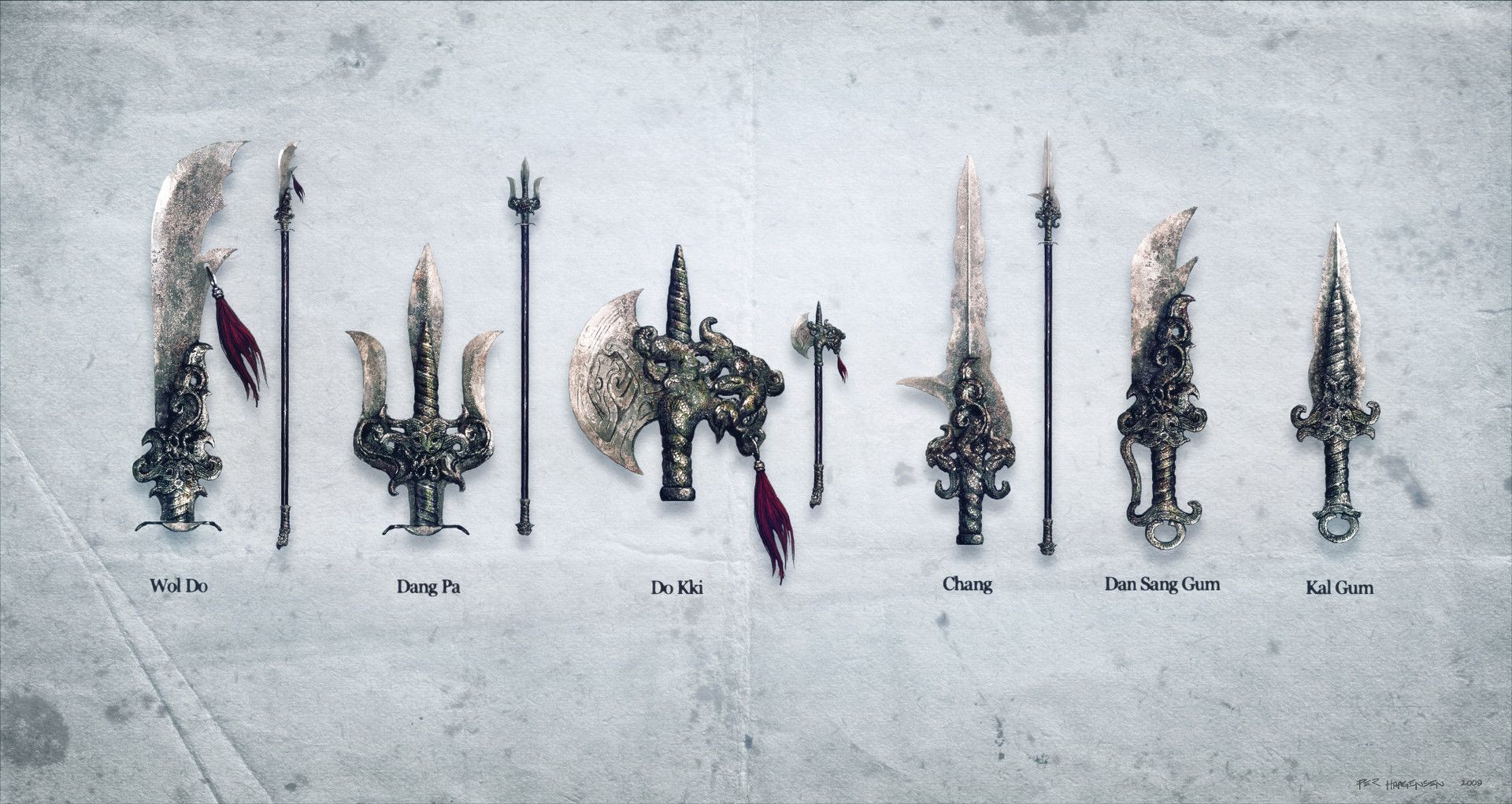 Artstation sacred weapons set per haagensen concept art