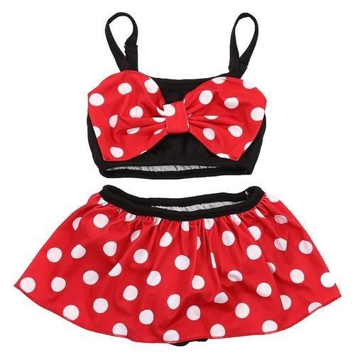 Girls Minnie Mouse Bikini Swimwear Swimming Two Piece