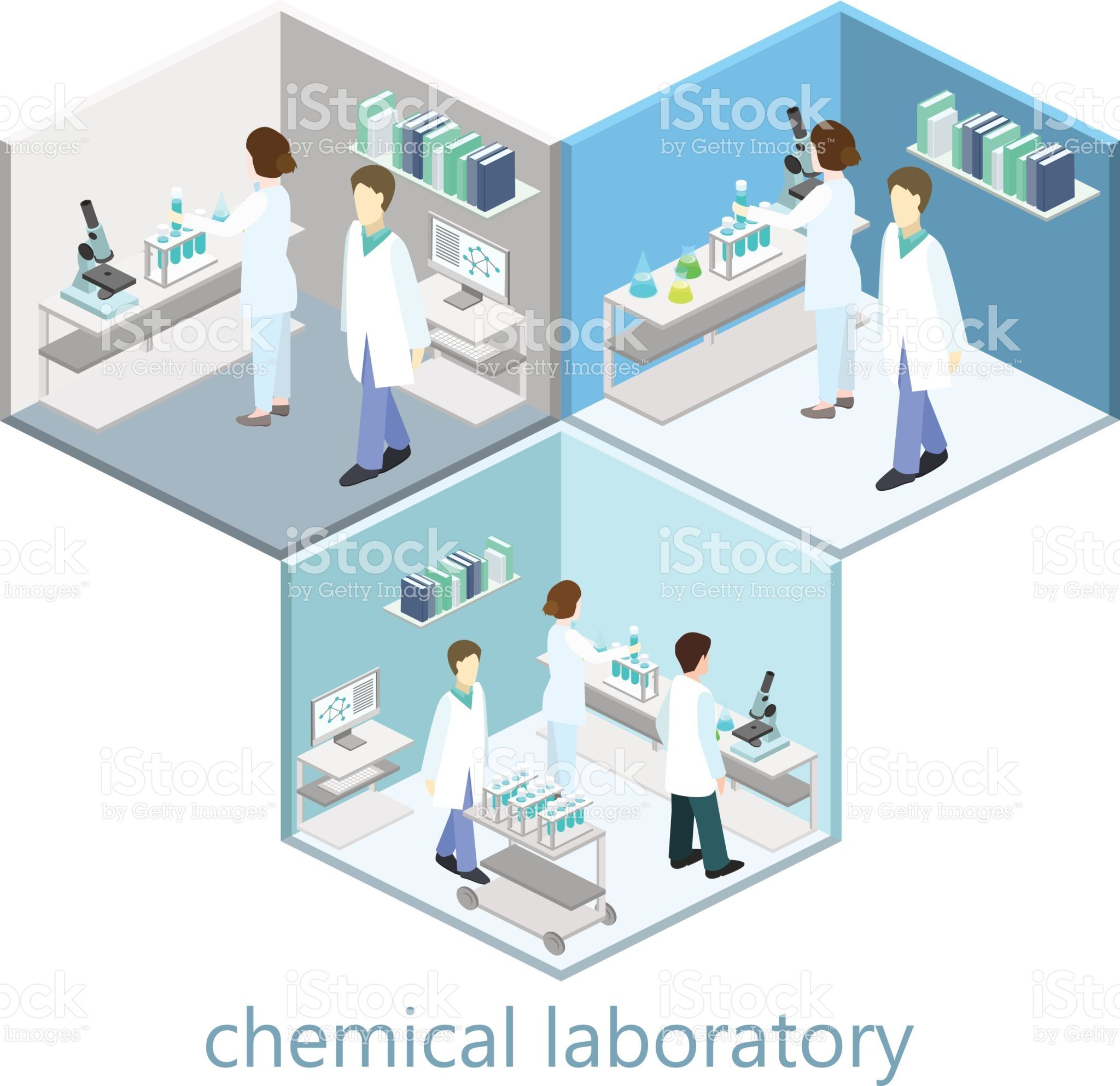 Isometric interior of science laboratory. Flat 3D vector illustration.【2020