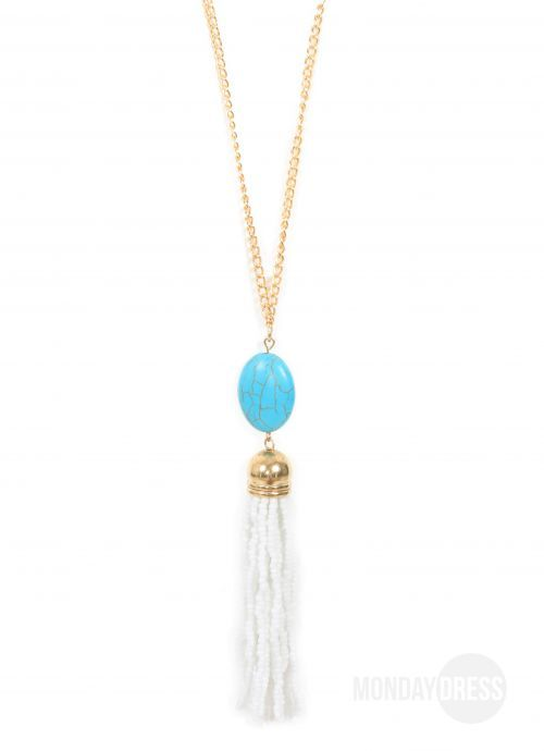 Turquoise And White Beaded Tassel Necklace | Monday Dress Boutique