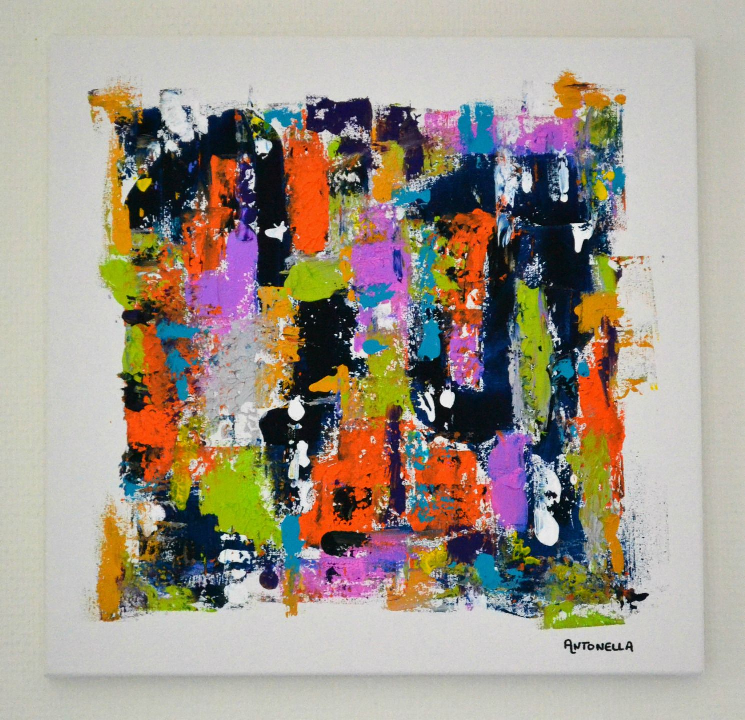 Tableau moderne abstrait design coloré - Tableau contemporain coloré ...