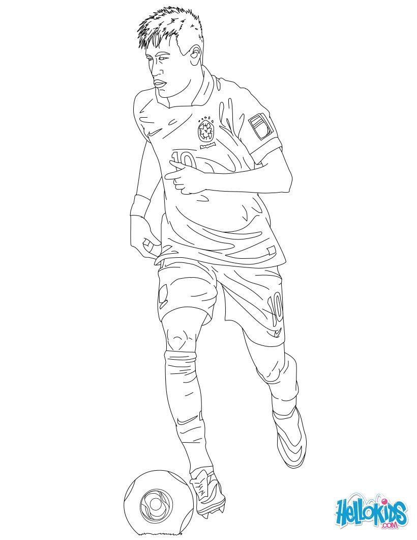 Neymar Colouringpage Team Brazil Hellokids Com Desenho De