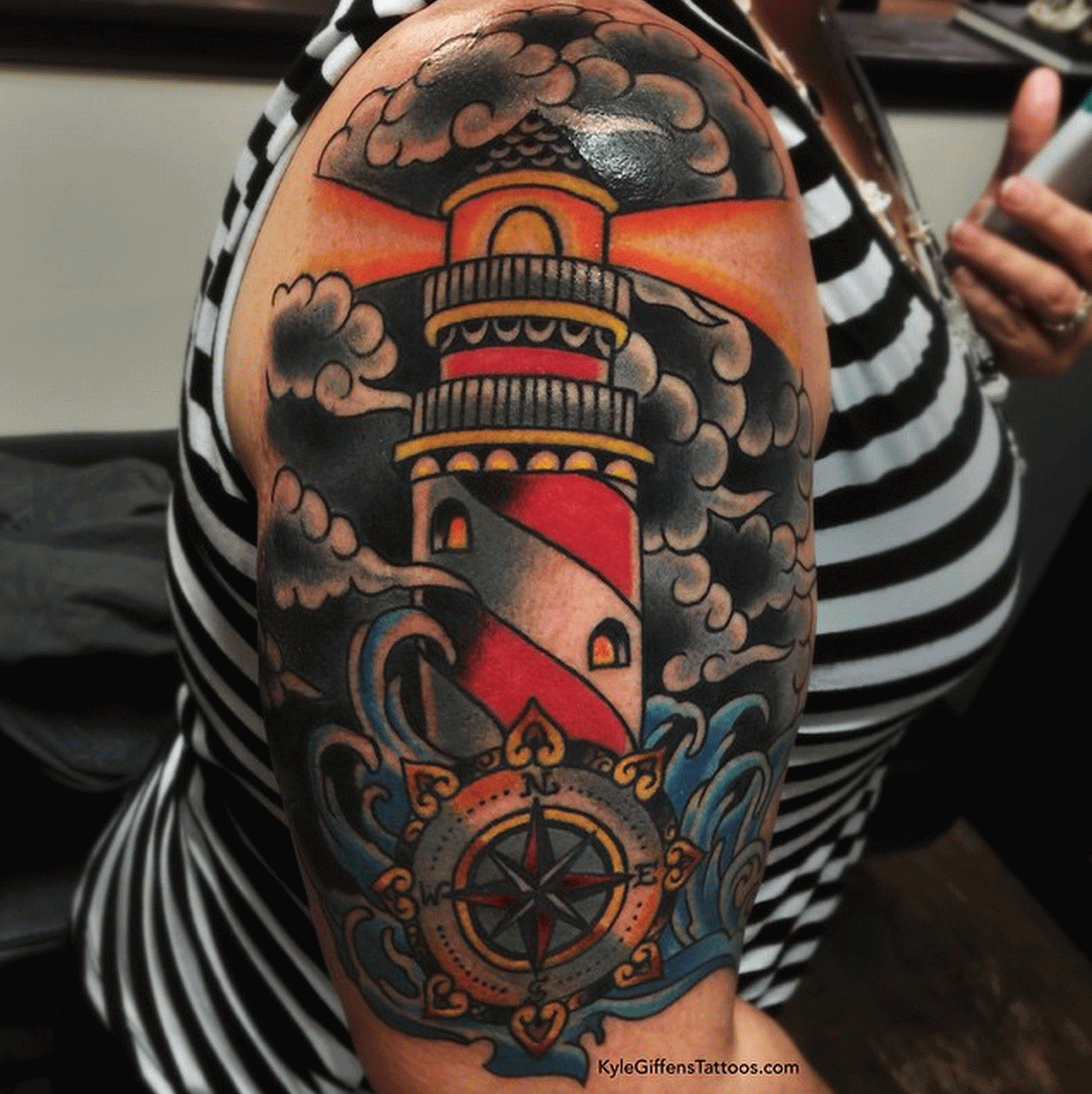 Nautical Compass And Lighthouse Tattoo On Sleeve | For JP ...