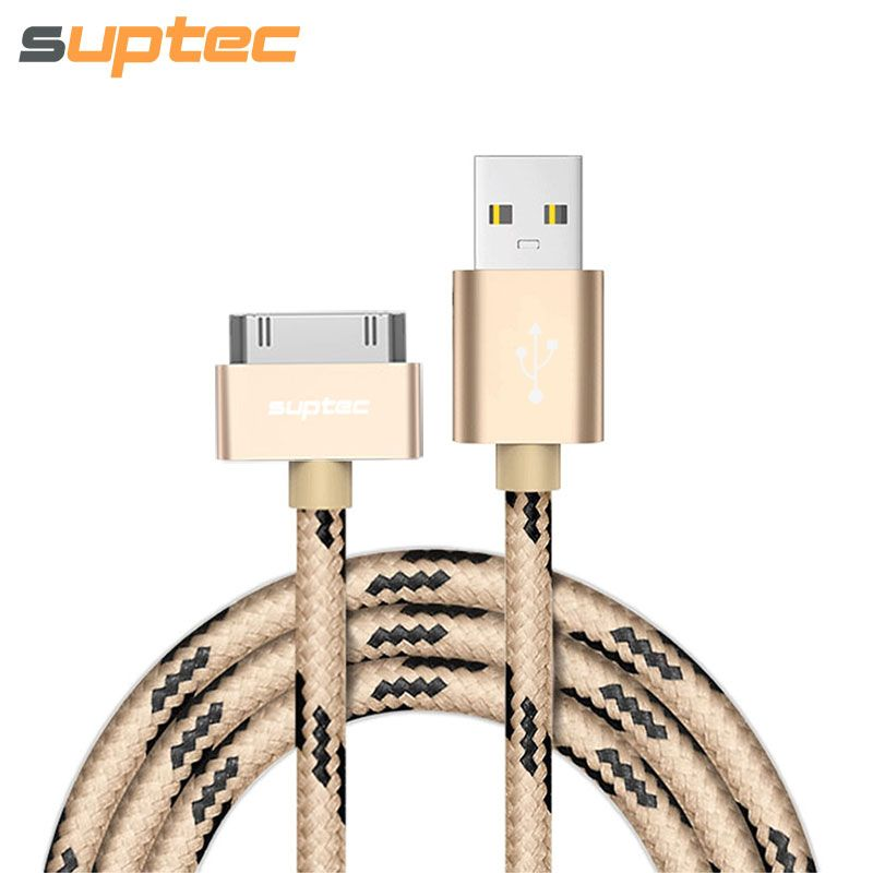 SUPTEC USB Cable for iPhone 4 4s iPad 2 3 iPod 30 Pin Nylon Braided ...