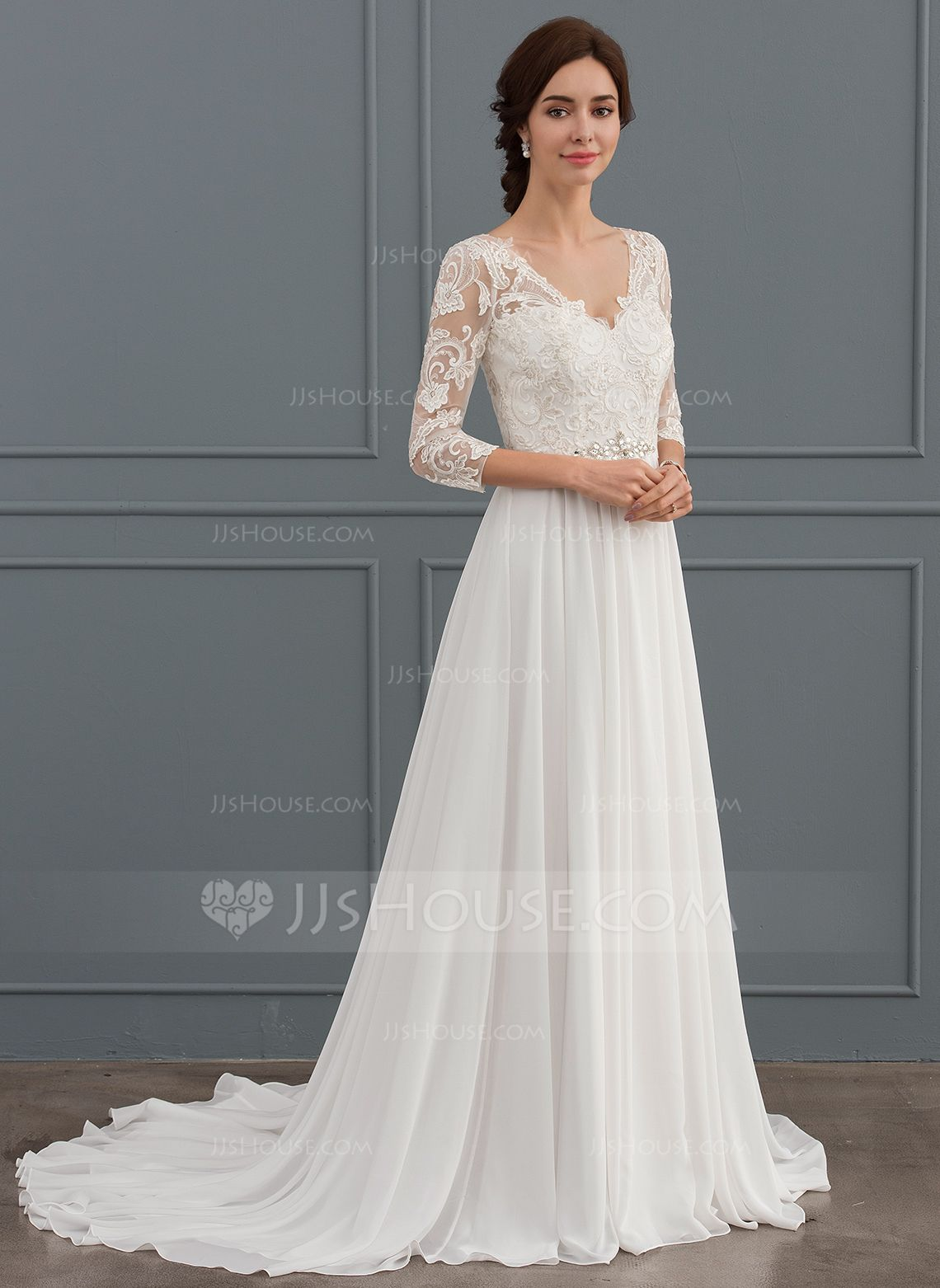 Us 181 00 A Line Princess V Neck Sweep Train Chiffon Lace Wedding Dress With Beading Sequins Jj S House Wedding Dress Long Sleeve Wedding Dress Sleeves Ball Gowns Wedding [ 1562 x 1140 Pixel ]
