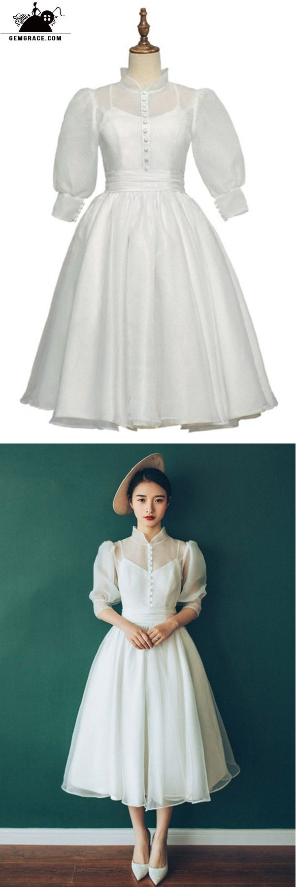 Vintage chic tea length bubble sleeves weddding dress with collar