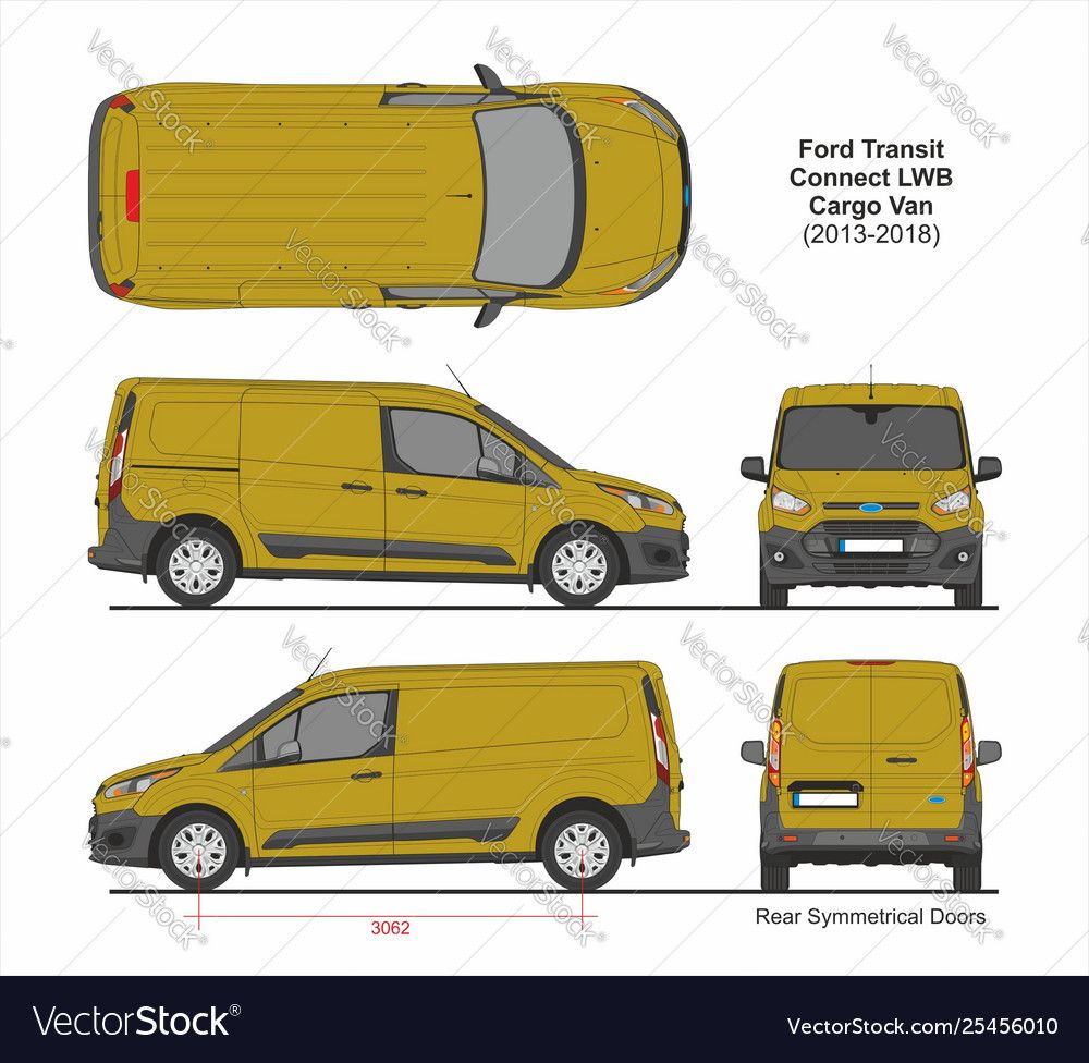 Ford Transit Connect Lwb Cargo Van Rear Symmetrical Doors 2013