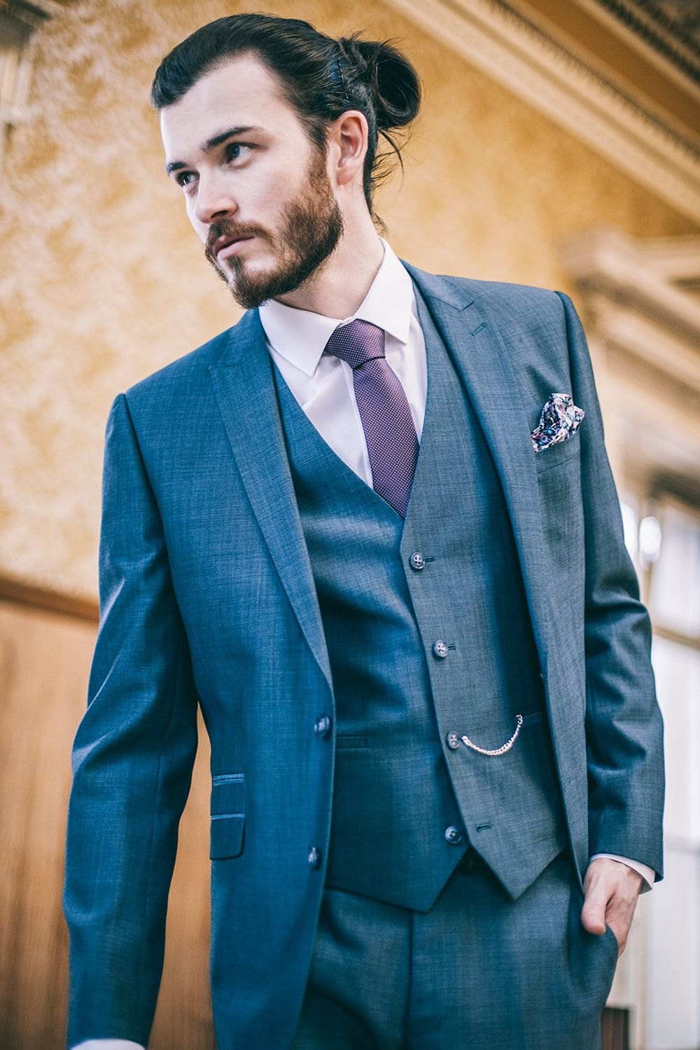 Sleek Street Three Piece Blue Slim Fit Suit // Slaters SS15 // Model ...