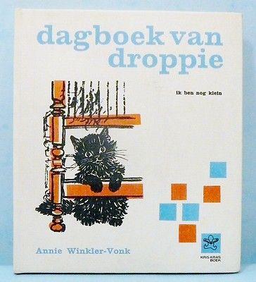 Het eerste boekje wat ik bij de bibliobus leende: Dagboek van droppie Winkler-Vonk 1964 oud kinderboekje vintage 60's jaren 60