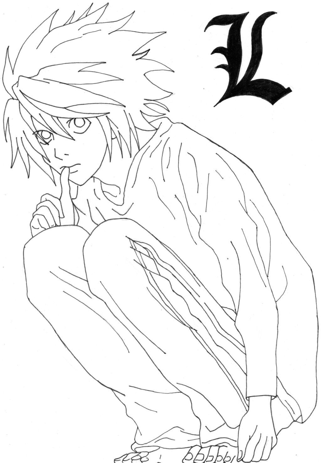 Death note - L (Lineart) by IviiLikePink | LineArt: Death Note ...