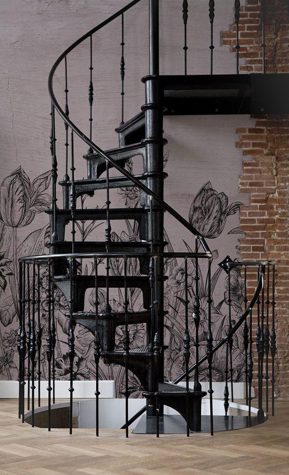 behangfabriek mural tulips stairs