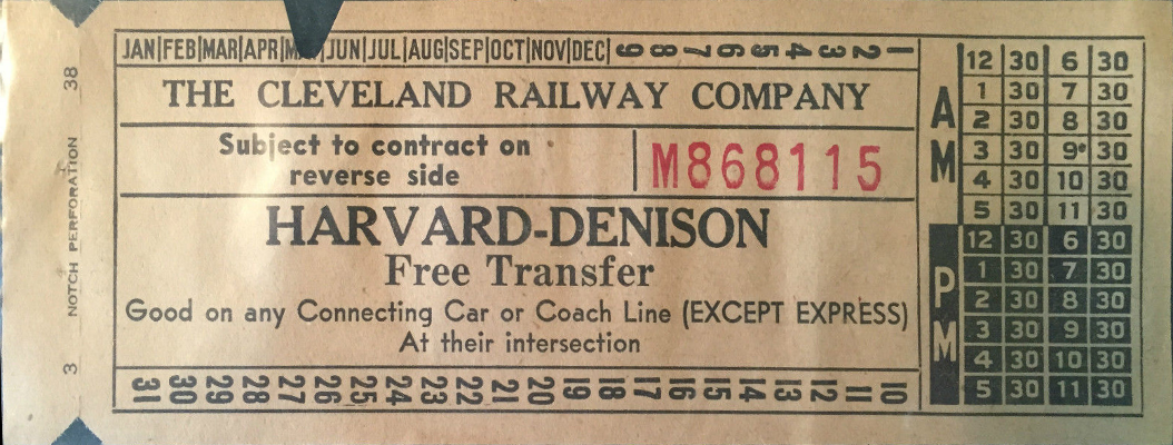 Front of transfer from Cleveland (Ohio) Railway Company (1938)