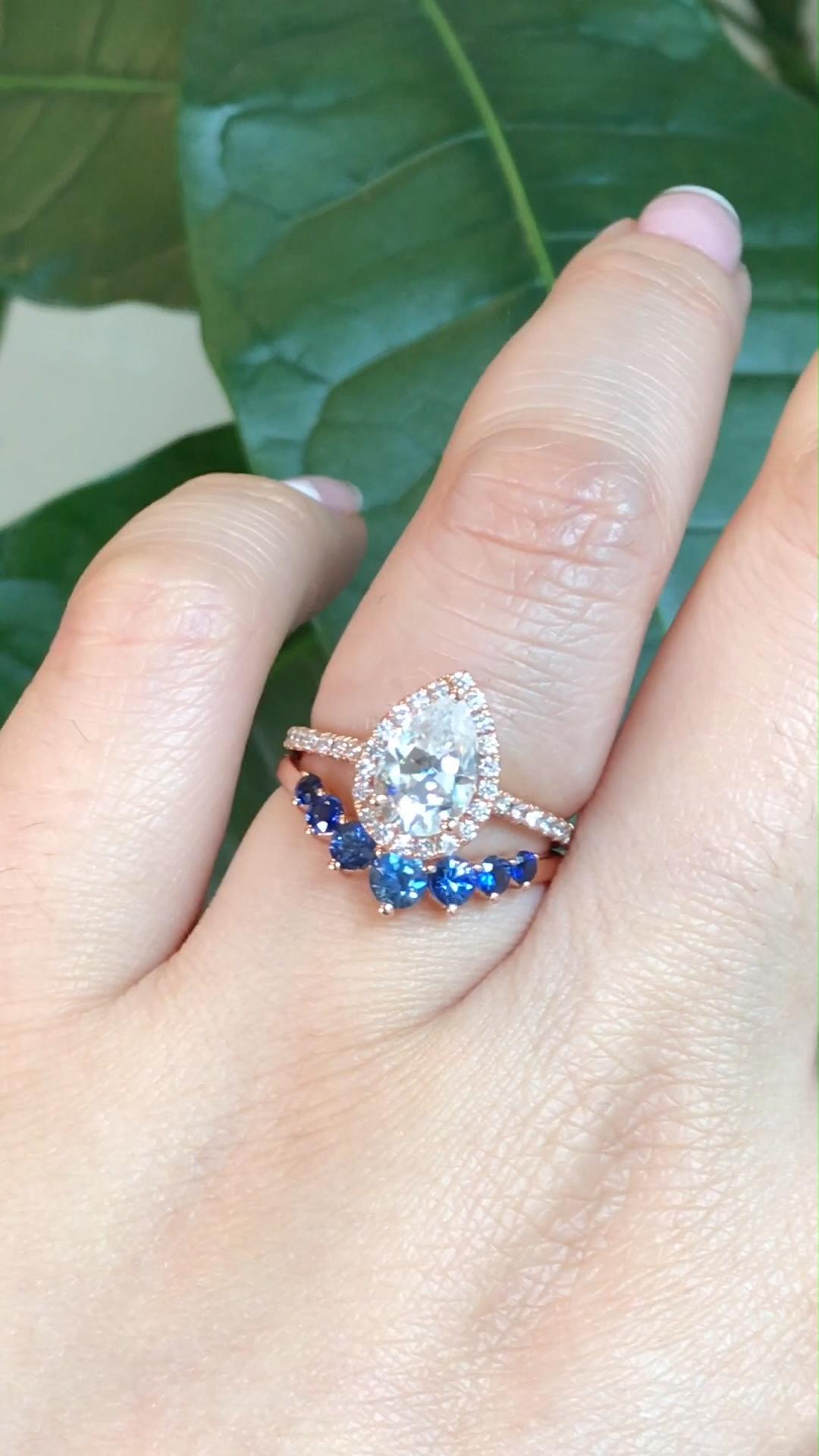 2.3ct engagement ring set Curved U diamond