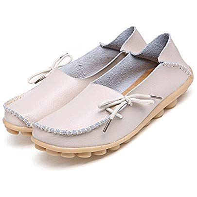adibosy women leather loafers casual moccasin driving
