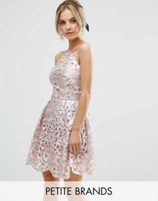 Chi Chi Petite Cutwork Detail Prom Dress With Foil Detail | Ashley\'s ...