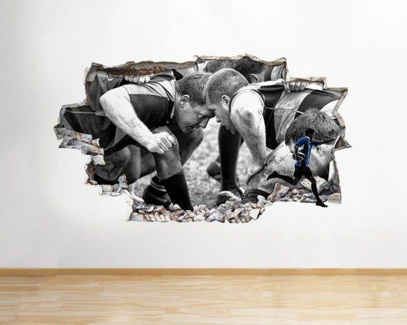 Q146w Rugby mêlée Sport joueurs Kit brisé Wall Sticker 3D Art Stickers vinyle