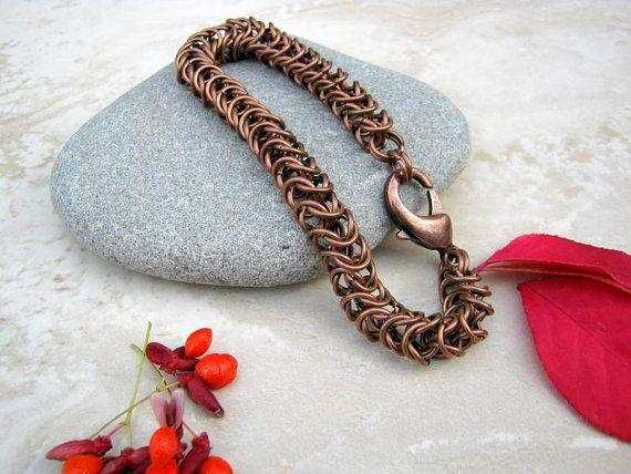 Men's Chain Bracelet Copper Bracelet Unisex Chainmaille by Arret