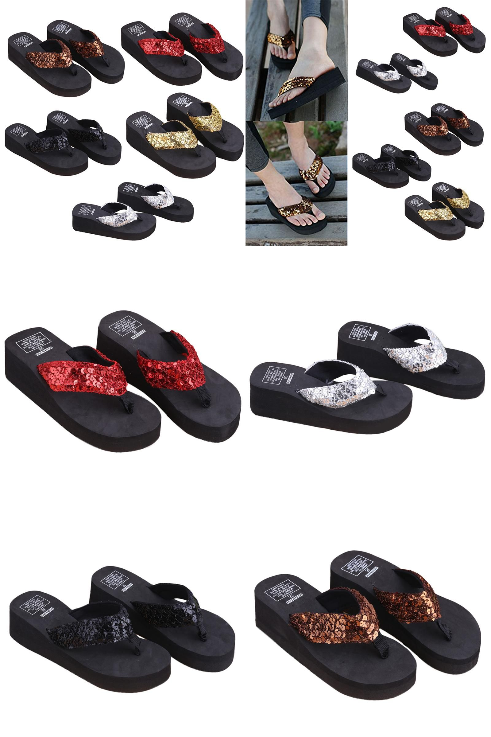 d81d50763799  Visit to Buy  New 1Pair Comfortable Summer Soft Women Wedge Sandals Sequin  Thong Mid