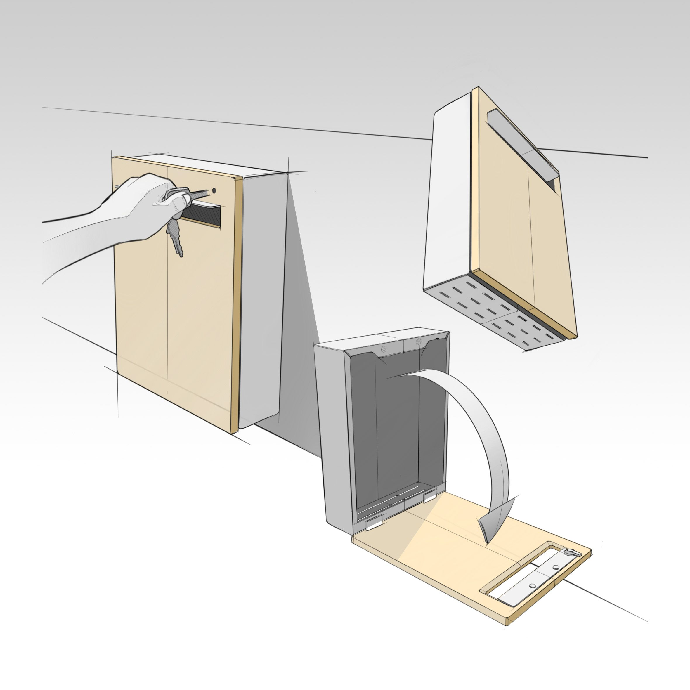 Design Development Sketches Of The Wall Mount Letterbox Letter Box Letter Box Design Mailbox Design