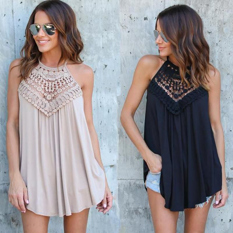 552ce69337943 Summer Lace Vest Top Sleeveless Blouse Casual Hollow Out Tops Shirt ...