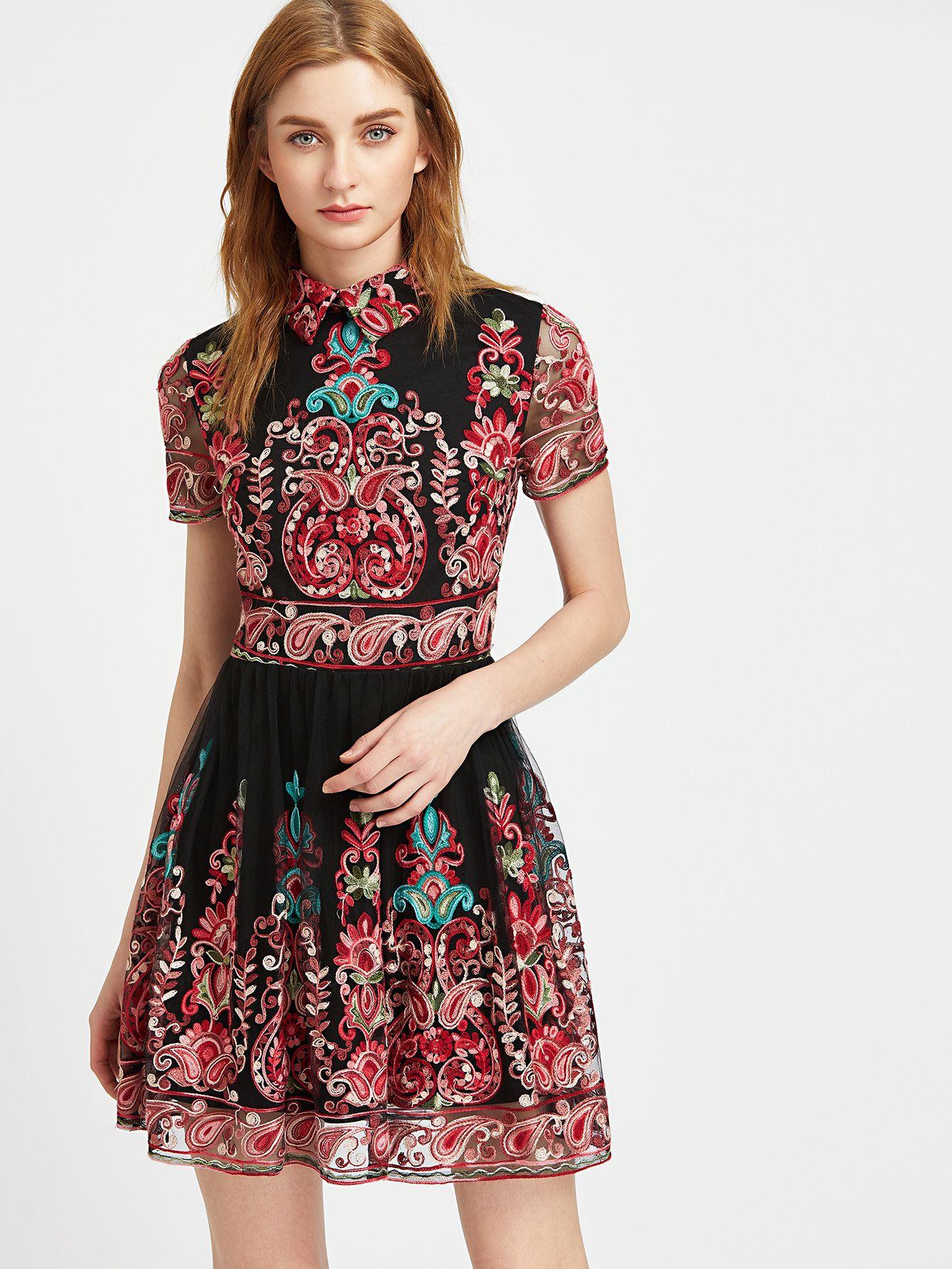 5f6ceef054 Embroidered Mesh Overlay Skater Dress -SheIn(Sheinside)