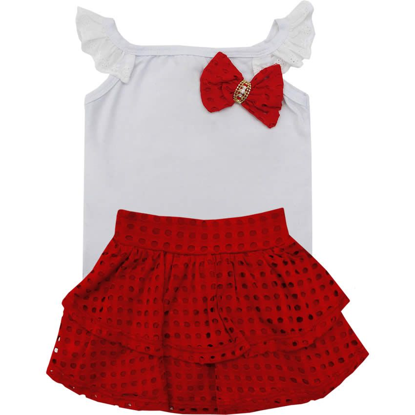 Conjunto Infantil Saia Laise Feminino Vermelho - Nini   Bambini    764 Kids   6bb24c9cab2f2