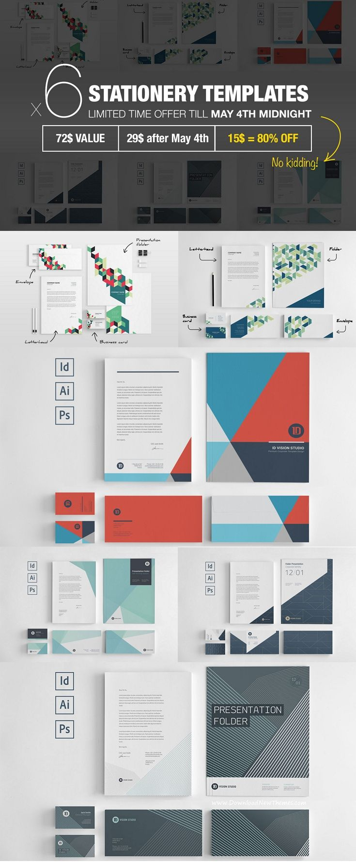 bundle: stationery corporate identity: business card front & back, Presentation templates