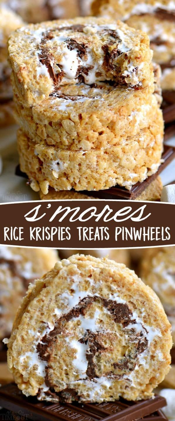 S'mores Rice Krispies Treats Pinwheels are infinitely better than traditional s'mores! Loaded with the irresistible flavors of marshmallow, chocolate and graham crackers in a super fun pinwheel package! Sure to be the hit of your next party! // Mom On Timeout