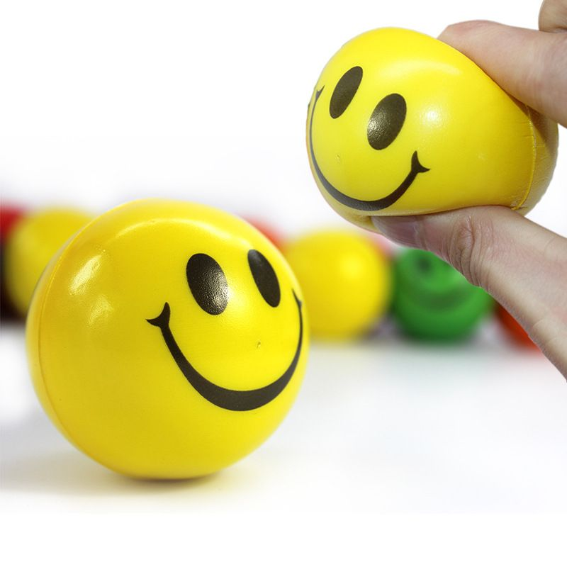 6pcs 7cm Diameter Colorful Elastic Smile Ball Soft PU