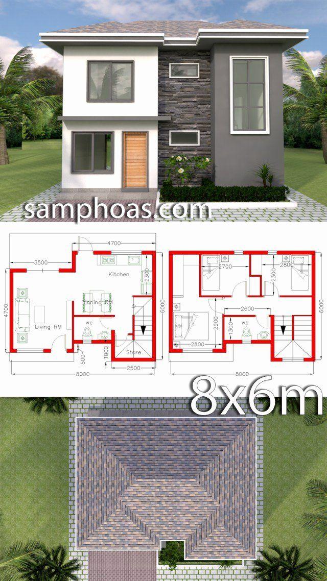Home Design 3d Best Of Plan 3d Home Design 8x6m with 3 Bedrooms Samphoas Plan