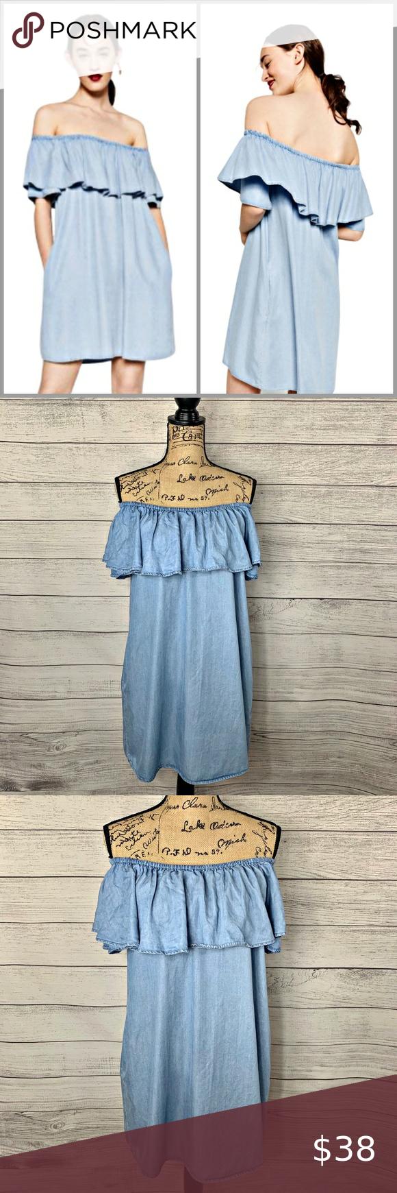 Zara Off The Shoulder Denim Ruffle Dress Sz S Denim Ruffle Dress Dresses Ruffle Dress [ 1740 x 580 Pixel ]