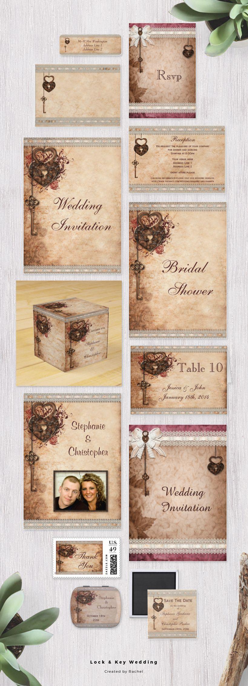 Elegant Fall Themed Key And Locks Wedding Invitations And Favors