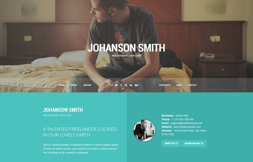 Best Vcard Resume Wordpress Themes   Freshdesignweb