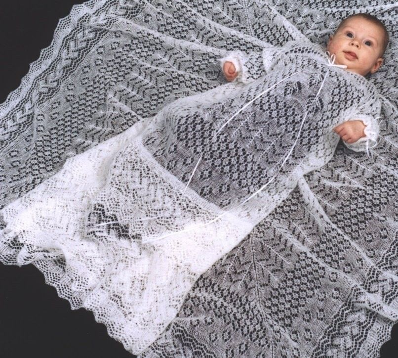 Christening Shawl Knitting Pattern Free : Shetland Collection - Cobweb Lace Knitted christening gowns Pinterest L...