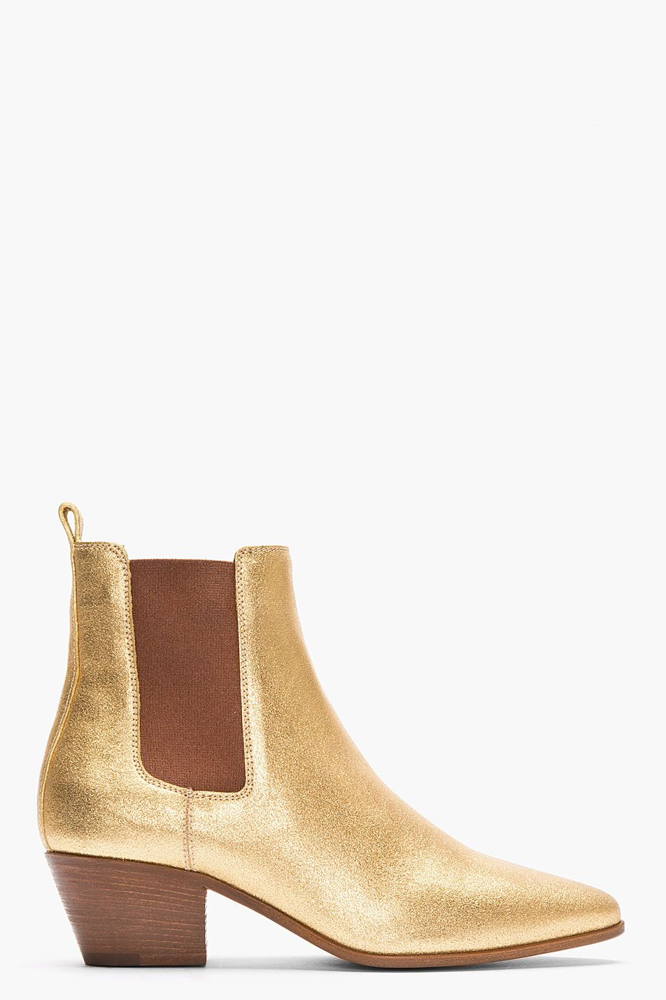 Saint Laurent Metallic Gold Leather Chelsea Ankle Boots for women ... a2b4617fb