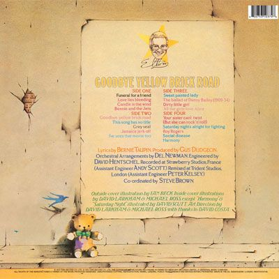 Elton John 1973 Goodbye Yellow Brick Road Gatefold Back Cover