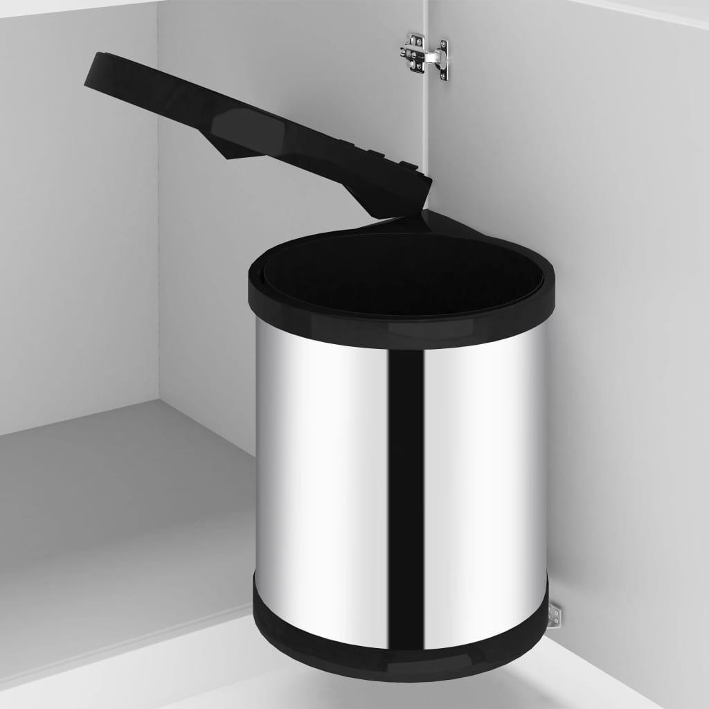 vida XL kitchen built-in rubbish bin stainless steel 12 L