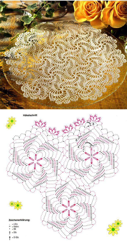 спиральные мотивы | Doily | Pinterest | Crochet, Crochet Doilies and ...