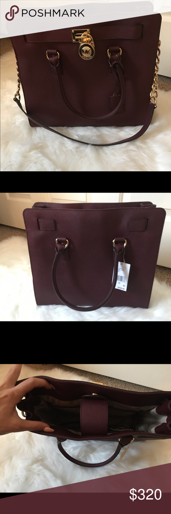 Micheal Kors large merlot Hamilton bag This beauty is in need of a good home. She's never been used or worn. Tags are still on, she's a beautiful merlot color, great for fall or anytime. Looking for price above or best offer. Thanks for shopping! Michael Kors Bags Satchels
