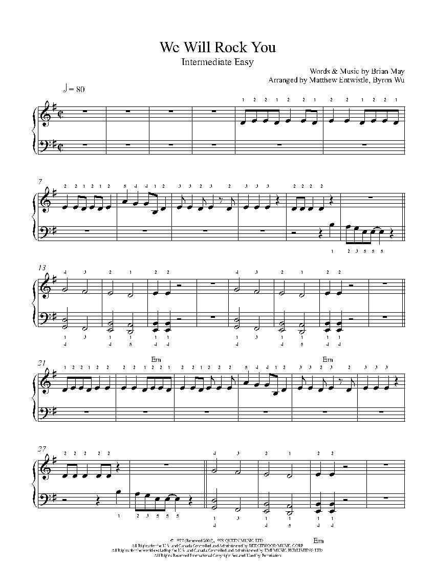 We Will Rock You by Queen Piano Sheet Music Intermediate