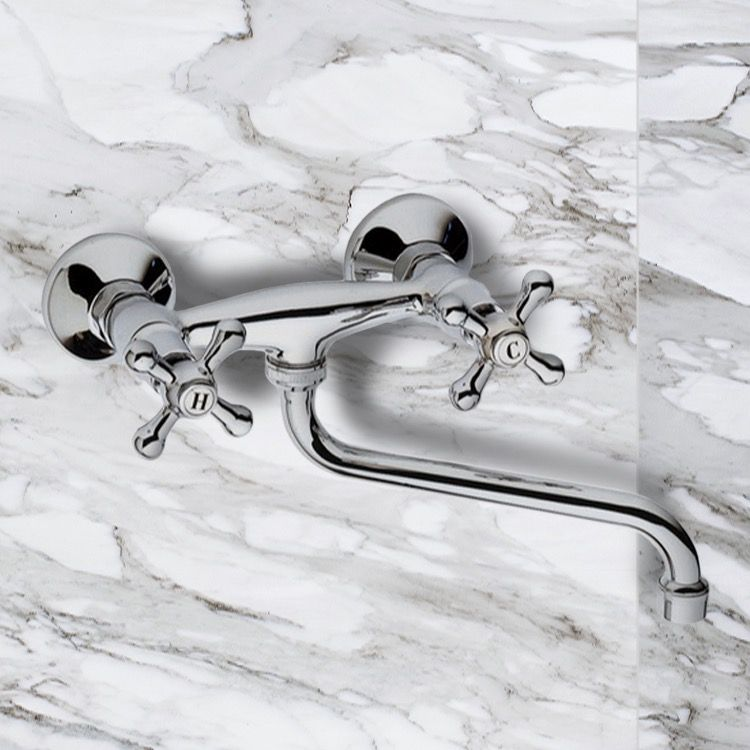 Chrome Wall Mount Tub Faucet With Long Swivel Spout In 2020 Wall Mount Tub Faucet Tub Faucet Tub