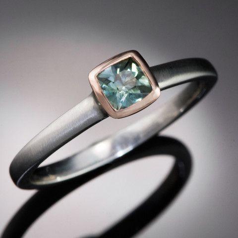 Mixed Metal Teal Green Cushion Montana Sapphire Engagement Ring, size | Nodeform