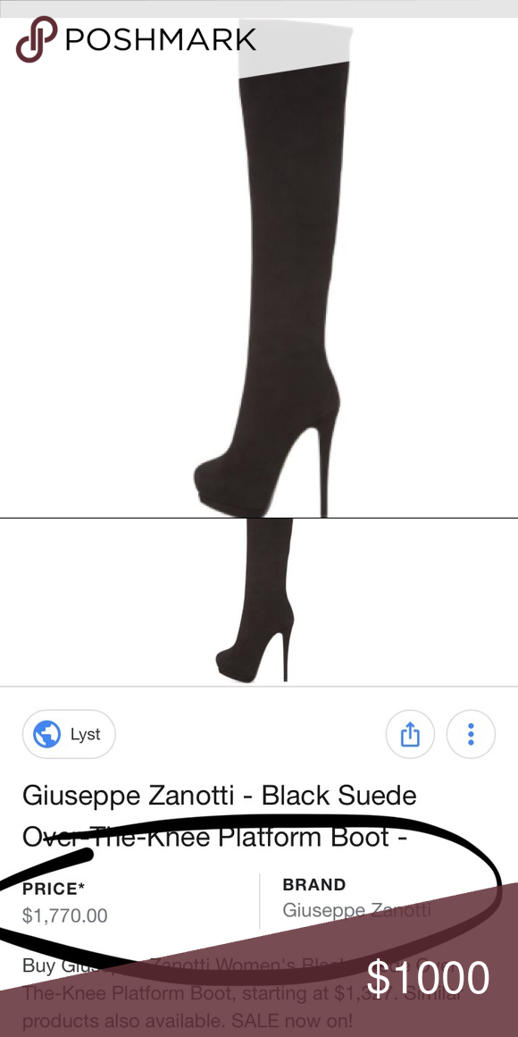 2a915163c44ad Giuseppi Zanotti just under the knee BLACK heel Giuseppi Zanotti just under  the knee black heel. Worn once. I bought them for the price shown and then  was ...
