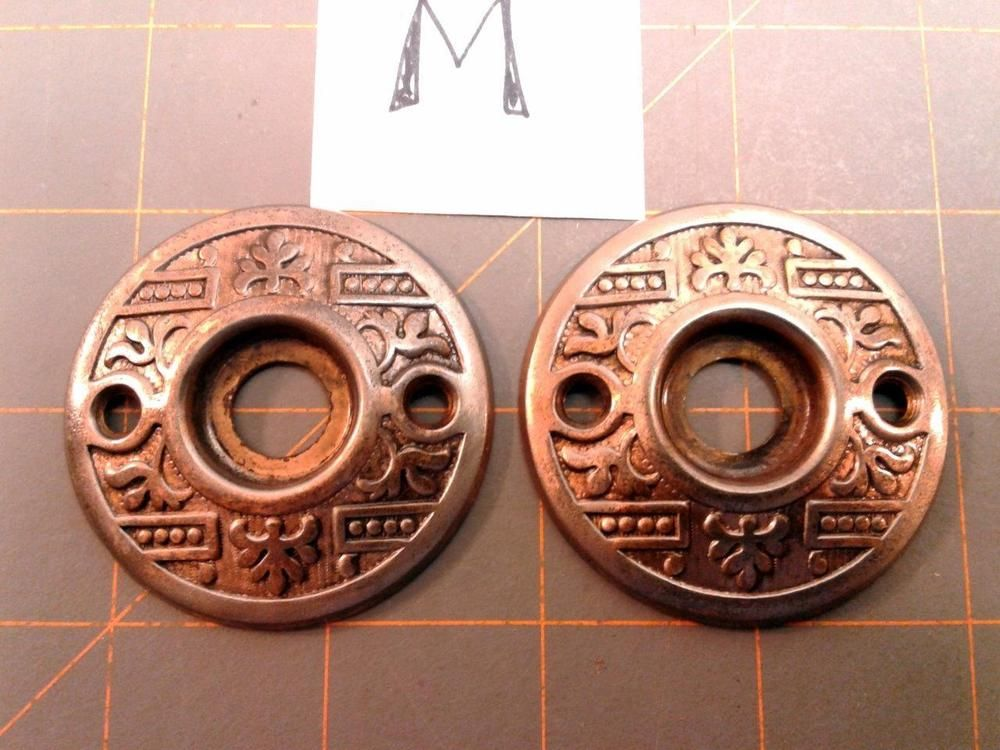 2 VTG Antique Ornate Brass Plated EASTLAKE Door Knob ROSETTE Backplate  Covers