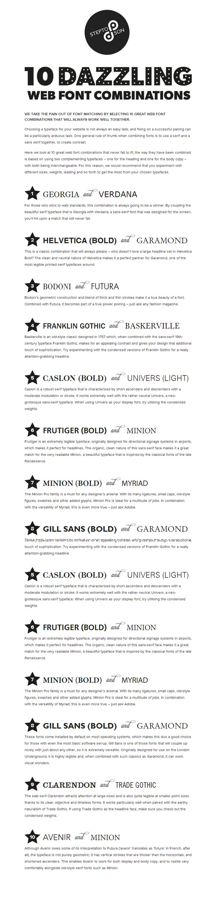 10 great web font combinations | fonts | Pinterest | Tipografía y ...