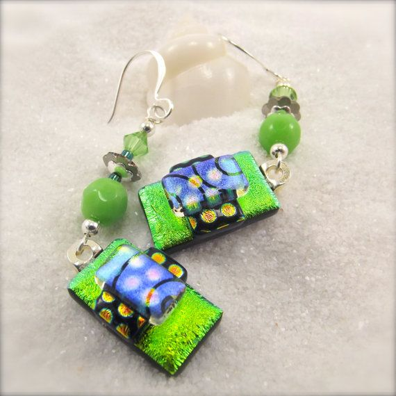 Sweet Apple-Dichroic earringsdichroic by HanaSakuraDesigns on Etsy