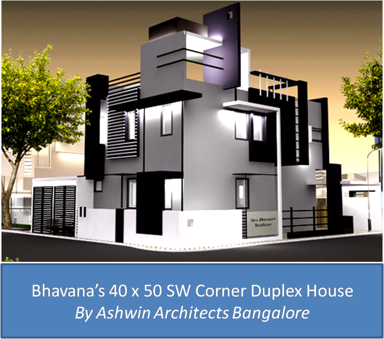Bhavana s 40 x 50 sw corner duplex house for the home for Architecture design for house in india