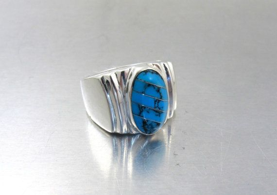 Mens Sterling Turquoise Ring Vintage Mexico by TonettesTreasures