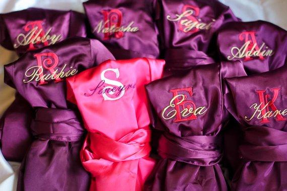 95d05b53f5 Set of 5 SATIN Bridal Robes Silk Bridesmaid Robe Gift Shower Monogrammed  Personalized Grey ~ Pink ~
